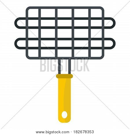 Steel grid for grill icon flat isolated on white background vector illustration