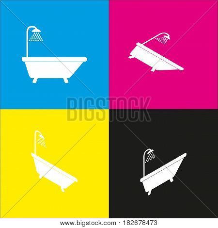 Bathtub sign. Vector. White icon with isometric projections on cyan, magenta, yellow and black backgrounds.