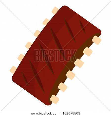 Grilled pork rib meat icon flat isolated on white background vector illustration
