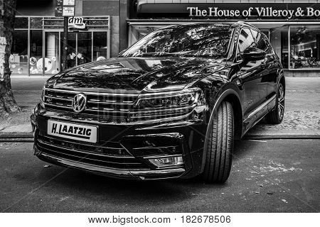 BERLIN - JUNE 05 2016: Compact crossover SUV Volkswagen Tiguan 2016. Black and white. Classic Days Berlin 2016.