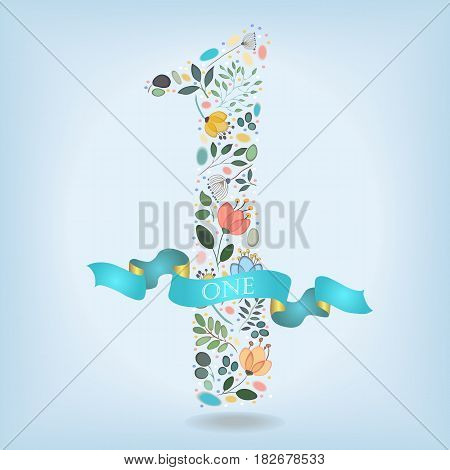 Floral Number One. Watercolor graceful flowers plants and blurs. Blue ribbon with golden back and white text. Vector Illustration