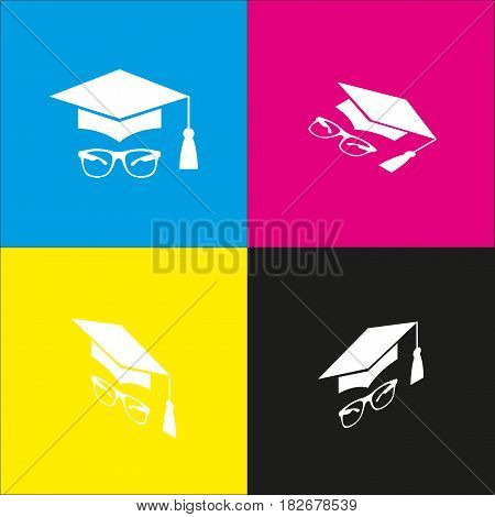 Mortar Board or Graduation Cap with glass. Vector. White icon with isometric projections on cyan, magenta, yellow and black backgrounds.