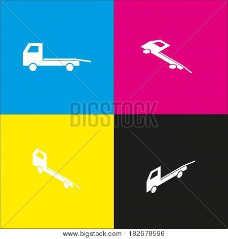 Service of evacuation sign. Wrecking car side. Car evacuator. Vehicle towing. Vector. White icon with isometric projections on cyan, magenta, yellow and black backgrounds.