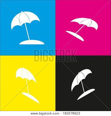 Umbrella and sun lounger sign. Vector. White icon with isometric projections on cyan, magenta, yellow and black backgrounds.