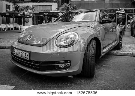 BERLIN - JUNE 05 2016: Compact car Volkswagen Beetle Cabriolet 2016. Black and white. Classic Days Berlin 2016.