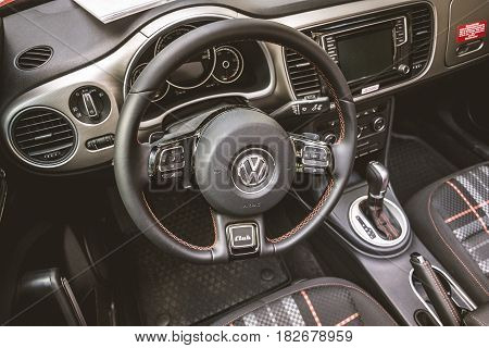 BERLIN - JUNE 05 2016: Interior of compact car Volkswagen Beetle Cabriolet 2016. Vintage toning. Classic Days Berlin 2016.