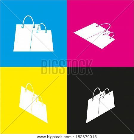 Shopping bags sign. Vector. White icon with isometric projections on cyan, magenta, yellow and black backgrounds.