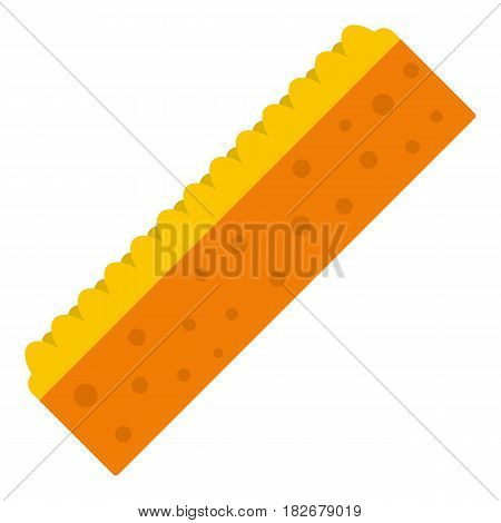 Orange sponge for cleaning icon flat isolated on white background vector illustration