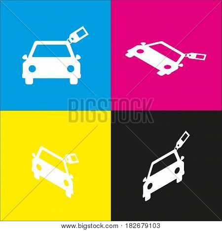 Car sign with tag. Vector. White icon with isometric projections on cyan, magenta, yellow and black backgrounds.