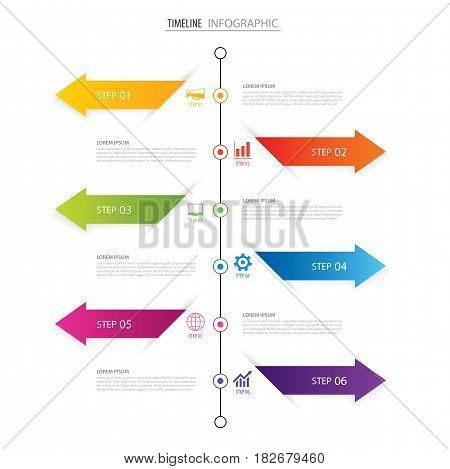 Modern 6 step infographic design template.Vector can be used for timeline workflow layout diagram number step up options web design annual report