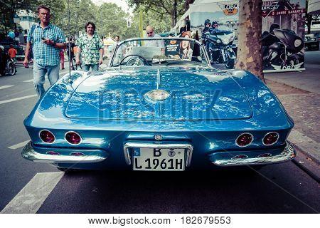 BERLIN - JUNE 05 2016: Sports car Chevrolet Corvette (C1). Rear view. Vintage toning. Classic Days Berlin 2016.
