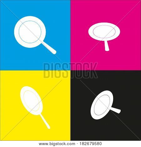 Pan sign. Vector. White icon with isometric projections on cyan, magenta, yellow and black backgrounds.