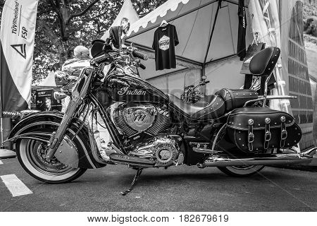 BERLIN - JUNE 05 2016: Motorcycle Indian Chieftain. Black and white. Classic Days Berlin 2016.