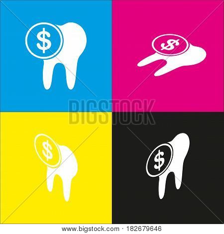 The cost of tooth treatment sign. Vector. White icon with isometric projections on cyan, magenta, yellow and black backgrounds.
