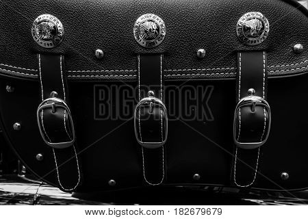 BERLIN - JUNE 05 2016: Trunk bag of motorcycle Indian Chieftain. Black and white. Classic Days Berlin 2016.