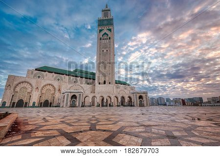 The Hassan II Mosque  largest mosque in Morocco. Shot  at sunrise in Casablanca.