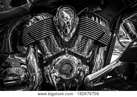 BERLIN - JUNE 05 2016: Engine of motorcycle Indian Chieftain. Black and white. Classic Days Berlin 2016.