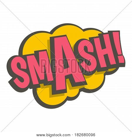 Smash, comic text sound effect icon flat isolated on white background vector illustration