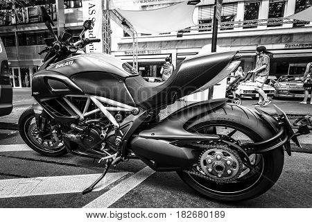 BERLIN - JUNE 05 2016: Superbike Ducati Diavel Carbon. Black and white. Classic Days Berlin 2016.