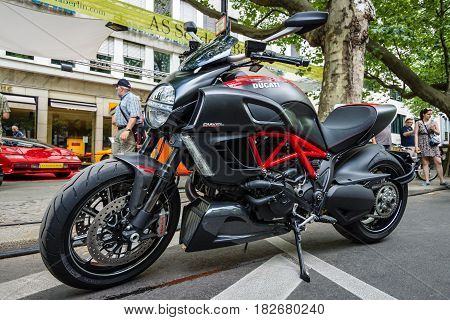 BERLIN - JUNE 05 2016: Superbike Ducati Diavel Carbon. Classic Days Berlin 2016.
