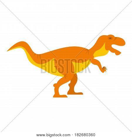 Orange tyrannosaur dinosaur icon flat isolated on white background vector illustration