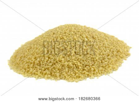 raw couscous closeup isolated white, tasty, natural