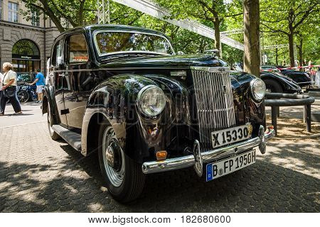 BERLIN - JUNE 05 2016: Vintage car Ford Prefect (E493A) a British cars which was produced by Ford UK. Classic Days Berlin 2016.