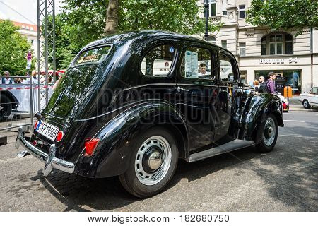 BERLIN - JUNE 05 2016: Vintage car Ford Prefect (E493A) a British cars which was produced by Ford UK. Rear view. Classic Days Berlin 2016.