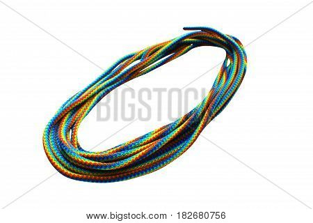Rope colored rolled isolated on white background, tourist