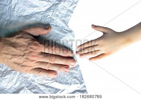 Palms for children and the old man on crumpled paper, a symbol of the future and the past, life from beginning to end