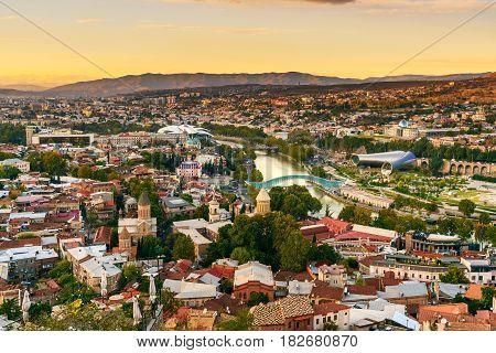 View On Tbilisi City On Sunset. Georgia