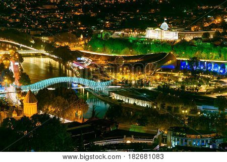Night View Of Center Tbilisi City. Georgia