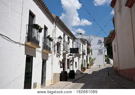Traditional houses in Zahara de la Sierra Cadiz. This village is part of white towns in southern Spain, Andalusia region