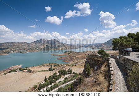 Views of Zahara - El Gastor Reservoir from Zahara de la Sierra town, Cadiz, Andalusia, Spain