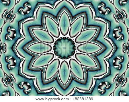 Abstract geometric retro background. Regular round blossom turquoise green white brown centered.