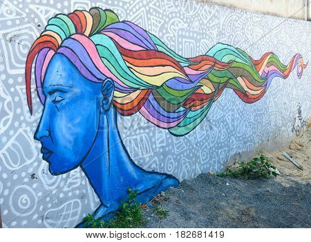 Urban Graffiti Of Portrait Blue Woman With Multi-colored Hair In Tbilisi, Georgia