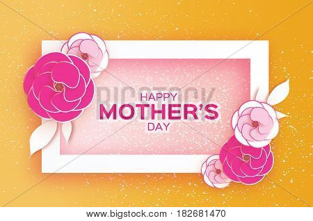 Happy Mother's Day. Pink Pastel Floral Greeting card. Paper cut Flower. Orange holiday background. Rectangle Frame. Space for text. Women's Day Origami Beautiful Bouquet. Vector illustration