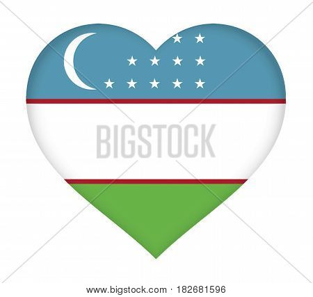 Illustration of the flag of Uzbekistan shaped like a heart.