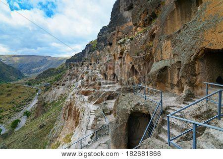 View On Vardzia Cave Monastery. Georgia