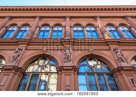Former Stock Exchange building in Riga city Latvia
