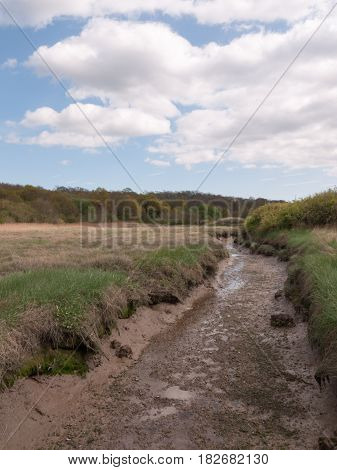 A Shallow Ditch Of Shining Mud Outside In A Field In The Country Next To A Running River, Taken From