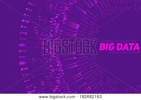 Big data circular violet visualization. Futuristic infographic. Information aesthetic design. Visual data complexity. Complex data threads graphic visualization. Social network. Abstract data graph