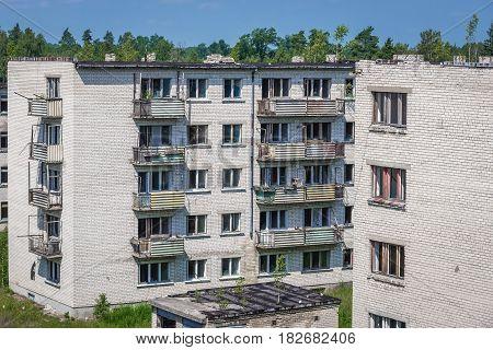 Blocks of flats in abandoned former Soviet military town Skrunda in Latvia