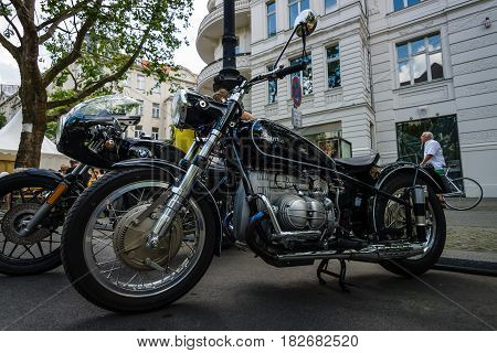 BERLIN - JUNE 05 2016: Custom bike in vintage style with BMW's engine. Classic Days Berlin 2016.