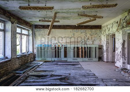 Gymnasium hall in school in Skrunda Soviet military ghost town in Lativa