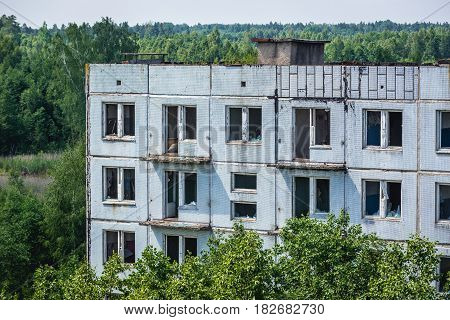 Close up on hospital building in Skrunda ghost town former USSR military base in Lativa