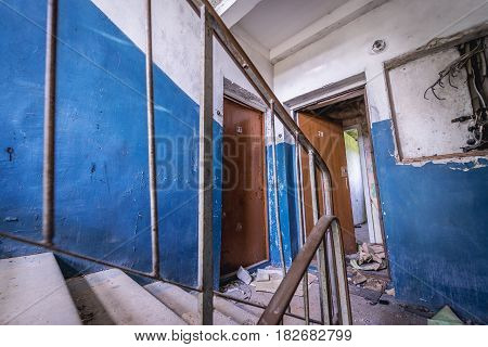 Interior of abandoned building in former Soviet military town Skrunda-1 in Latvia
