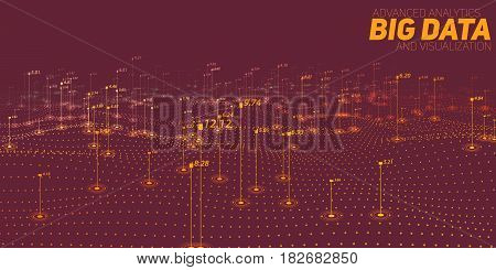 Big data brown plot visualization. Futuristic infographic. Information aesthetic design. Visual data complexity. Complex data threads graphic visualization. Social network. Abstract data graph.