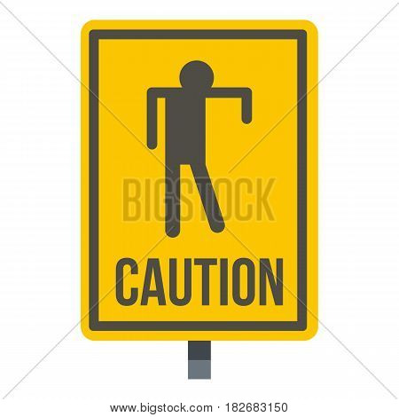 Yellow caution zombie sign icon flat isolated on white background vector illustration