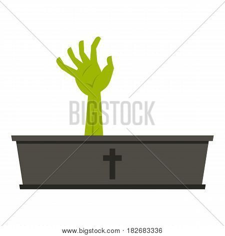 Green zombie hand coming out of his coffin icon flat isolated on white background vector illustration